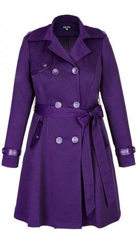 corset back trench coat  purple coat purple fashion coat