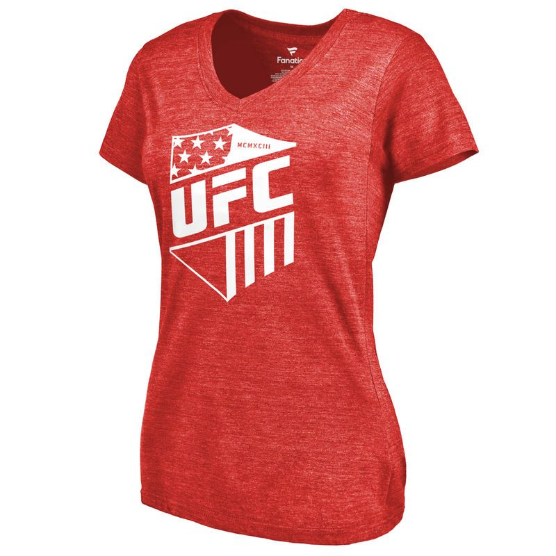 UFC Women's Battalion Tri-Blend V-Neck T-Shirt - Red