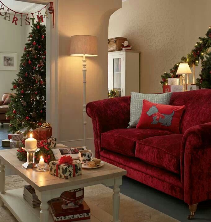 Laura ashley red sofa cristmas living room so cute and cosy for Red living room ideas pinterest