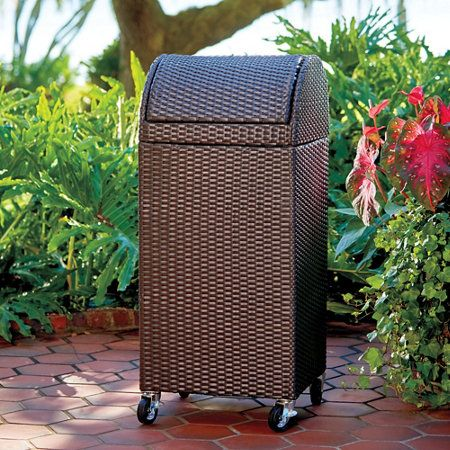 Outdoor Trash Can With Wheels Entrancing Resin Wicker Outdoor Trash Canhamper  Hamper Ground Pools And Design Decoration