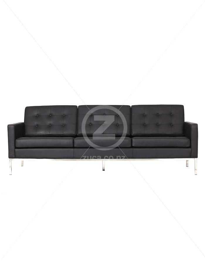 Replica Florence Knoll 3 Seater Sofa – Black Leather | ZUCA ...
