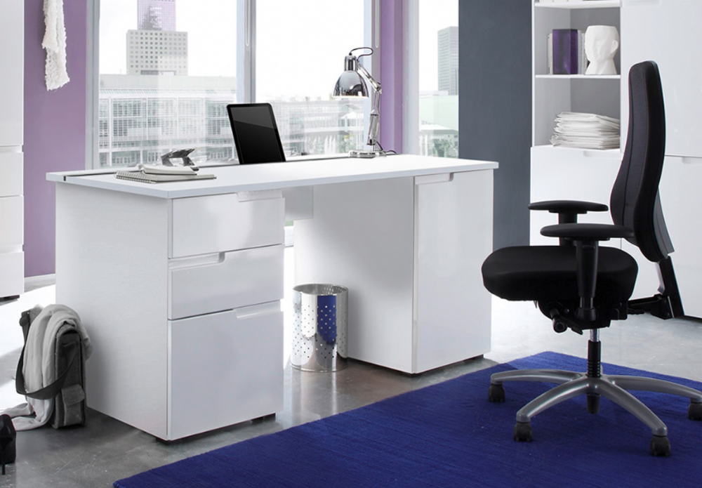 Cellini Large White Gloss Computer Desk Office Workstation White