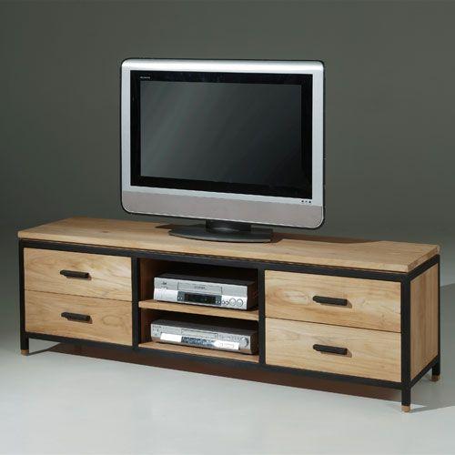 Meuble TV en bois massif et métal 4 tiroirs 2 niches Luna