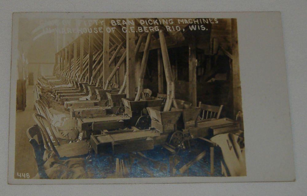 1908 Warehouse Interior Bean Picking Machines C.E.Berg Rio Wisconsin RPPC WI