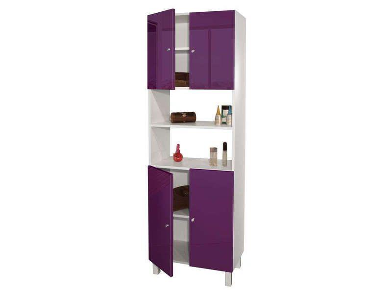 colonne de salle de bain 4 portes soramena coloris aubergine vente de armoire colonne - Echelle Salle De Bain Conforama