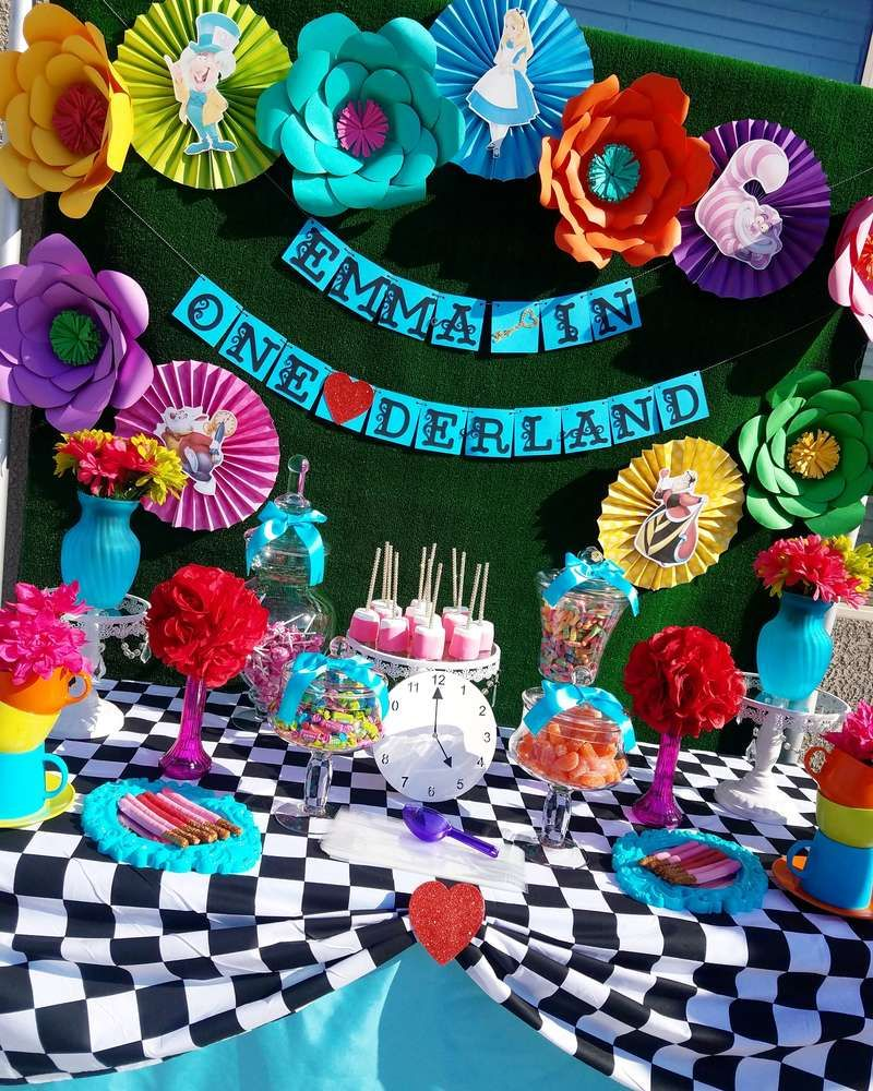 Dont be late to this fun alice in wonderland 1st birthday party