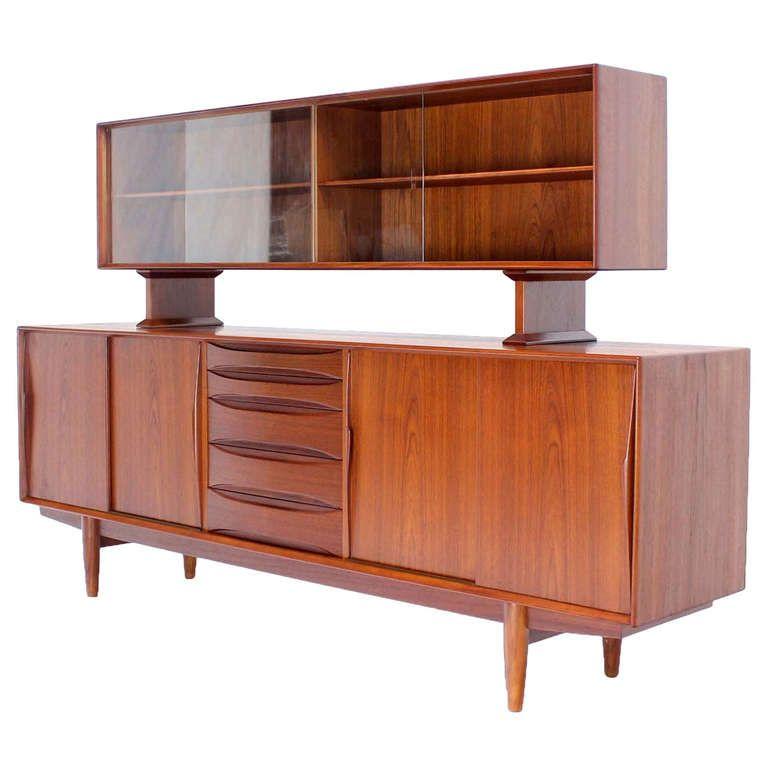 Danish Mid Century Modern Teak Credenza Hutch Dresser