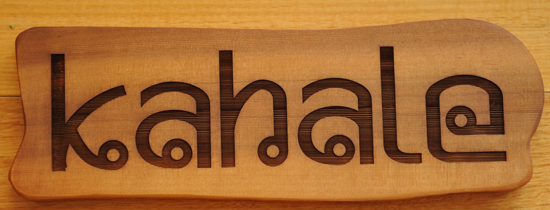 Western Red Cedar house sign. laser engraved shows up dramatic grain effects. MyChoice@Firebridge