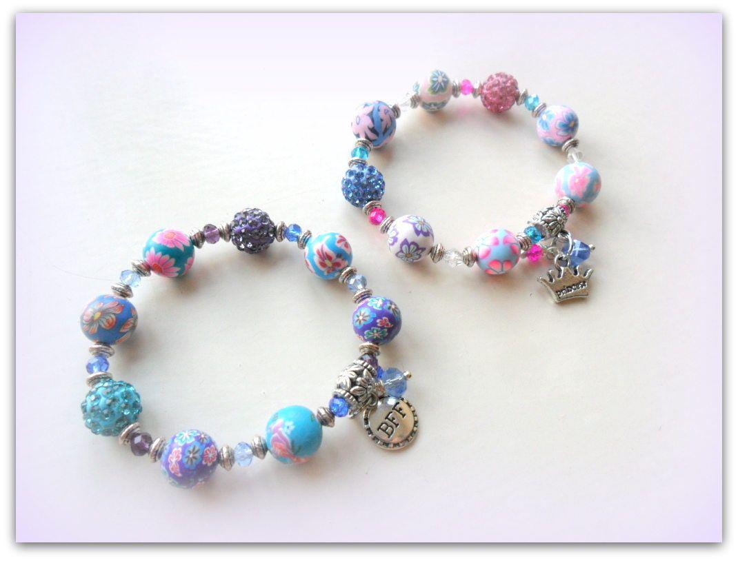 Girls silver polymer clay friendship charm bracelet kids bracelet