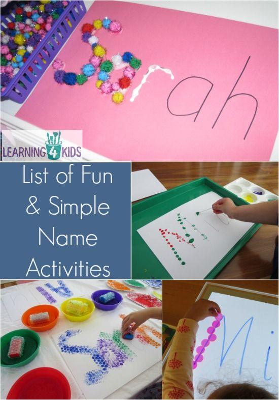 List Of Simple And Fun Name Activities Preschool Activities Name