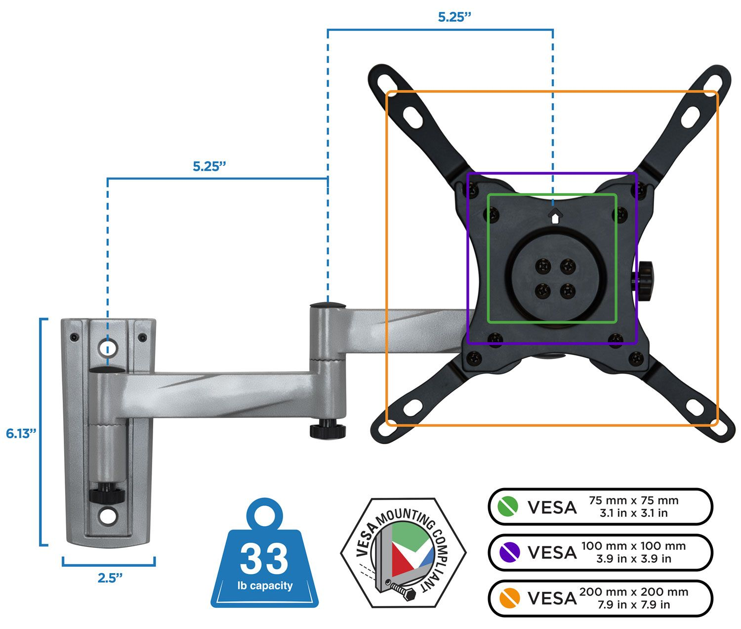 Mount It Rv Swivel Tv Mount Specifically Rv Or Mobile Home Use Fits 23 42 Inch Tvs Walmart Com Wall Mounted Tv Tv Wall Tv Wall Mount Designs
