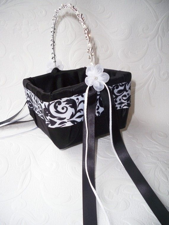 Black and White Damask with Blue Wedding Ring Bearer Pillow and Flower Girl Basket