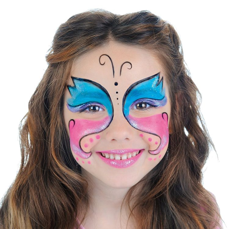 Schmetterling Schminken Kind Einfach Blau Pink Makeup Fasching