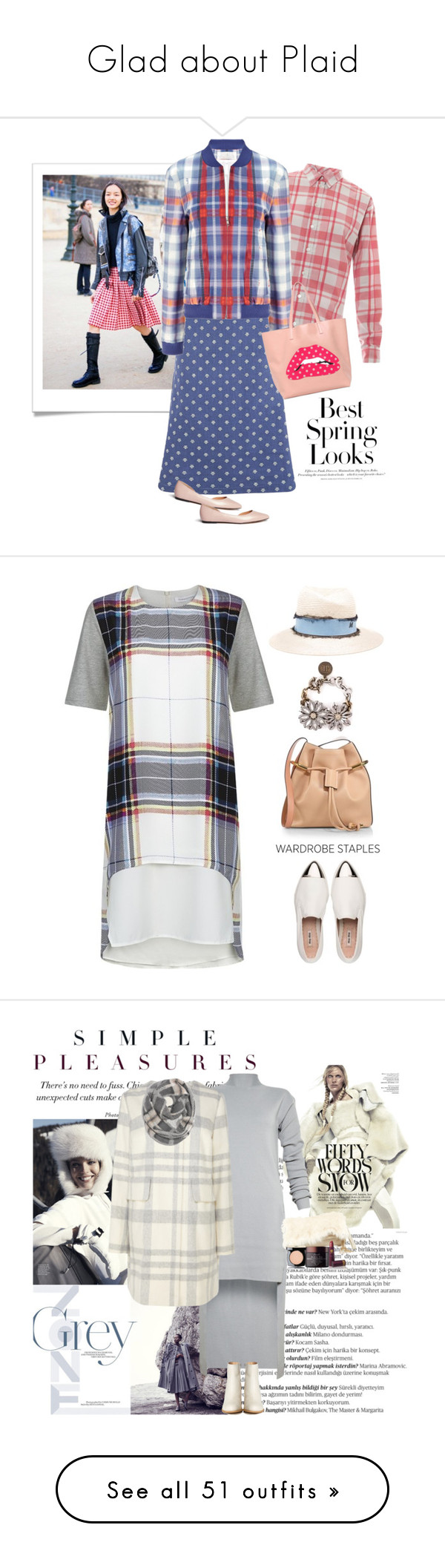 """""""Glad about Plaid"""" by musicfriend1 ❤ liked on Polyvore featuring H&M, Thierry Colson, Thakoon Addition, RED Valentino, Pedder Red, Finders Keepers, Miu Miu, Chloé, Maison Michel and Lanvin"""