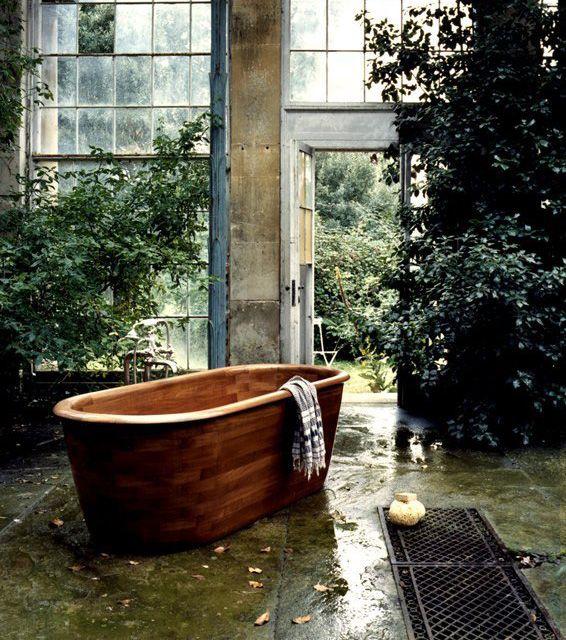 Conservatory Bath with teak bathtub