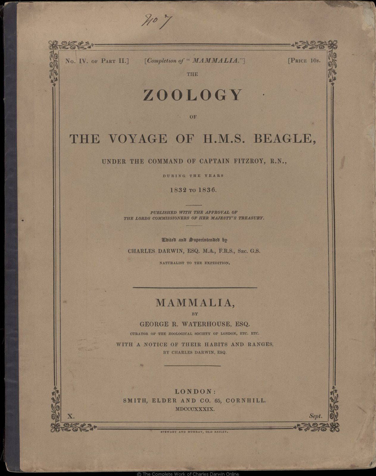 The zoology of the voyage of H. M. S. Beagle\' | Natural history ...
