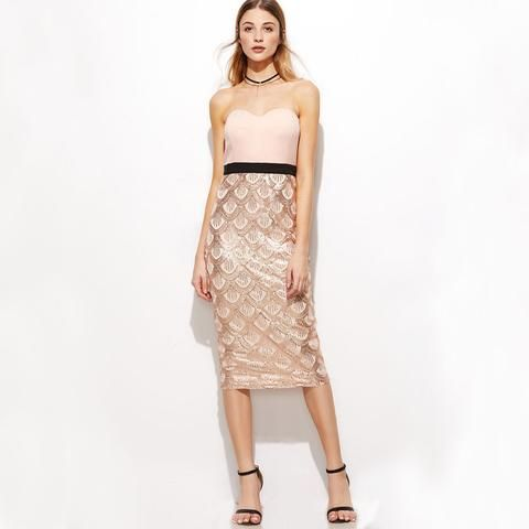 fe306f95a42 Rose Gold 2017 Sexy Bra Strapless Fish Scale Sequined Party Midi Dress
