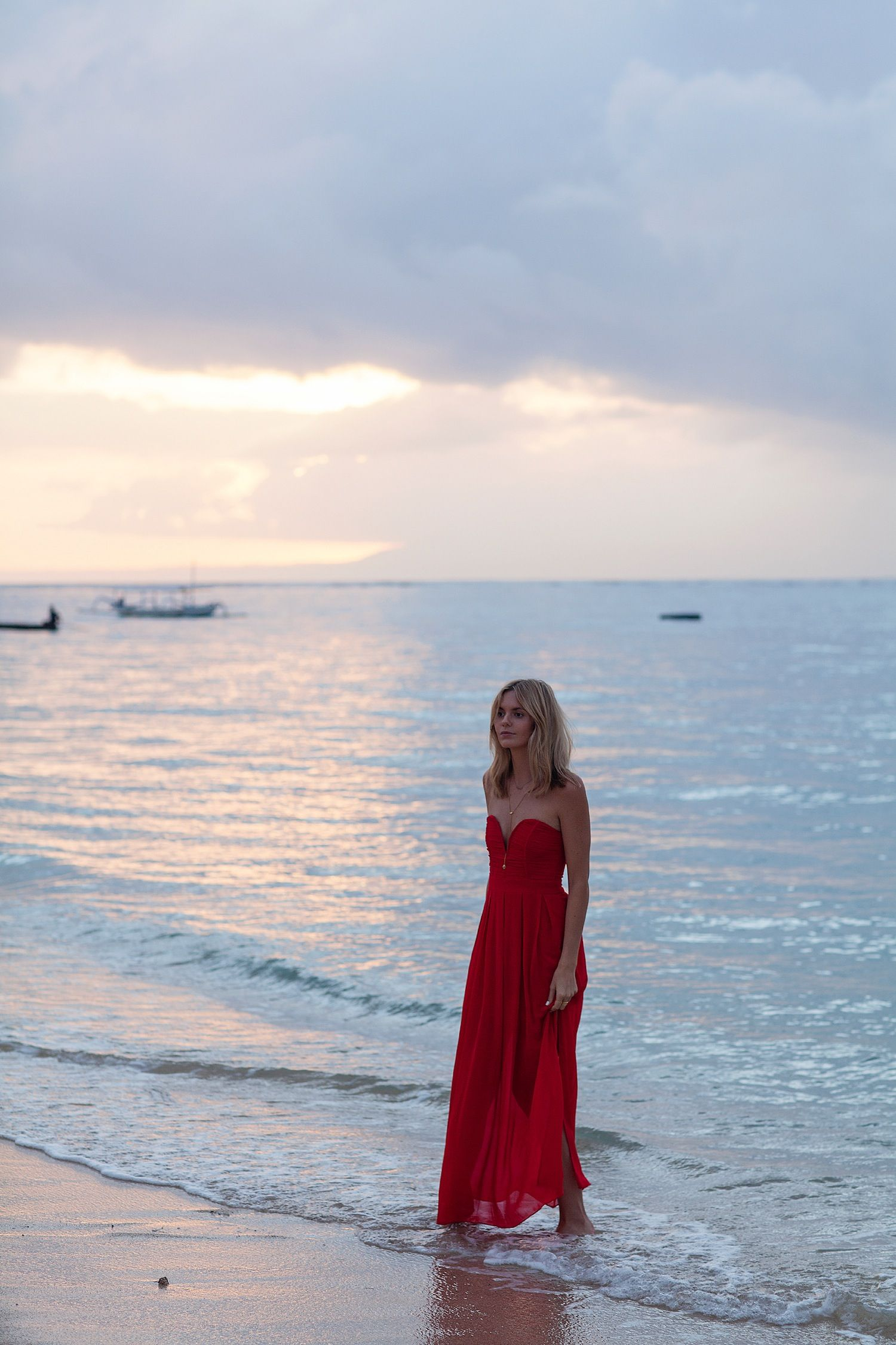 Jess stein of tuula vintage in red maxi dress summer style