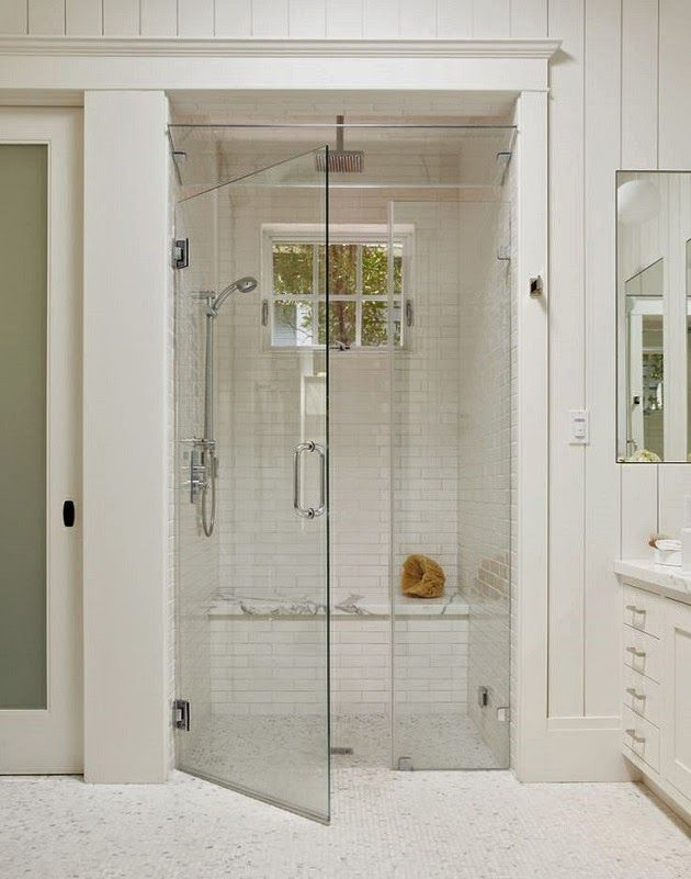 white subway tile, shower, marble seat, glass ventilation at top ...