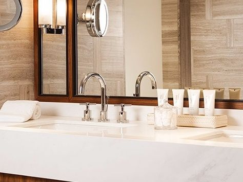 Hotel bathroom, decoration, white elegance, marble countertop, miter joint, CNC precision