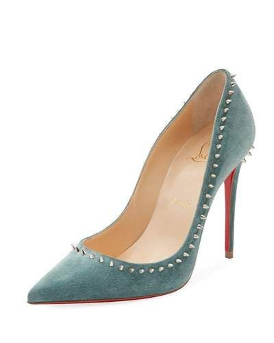 54d427275fc6 X3VWG Christian Louboutin Anjalina Spiked Suede Red Sole Pump