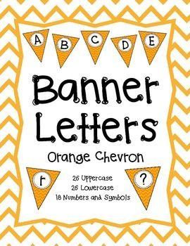 Pennant Banner Letters Orange Chevron Free Printable