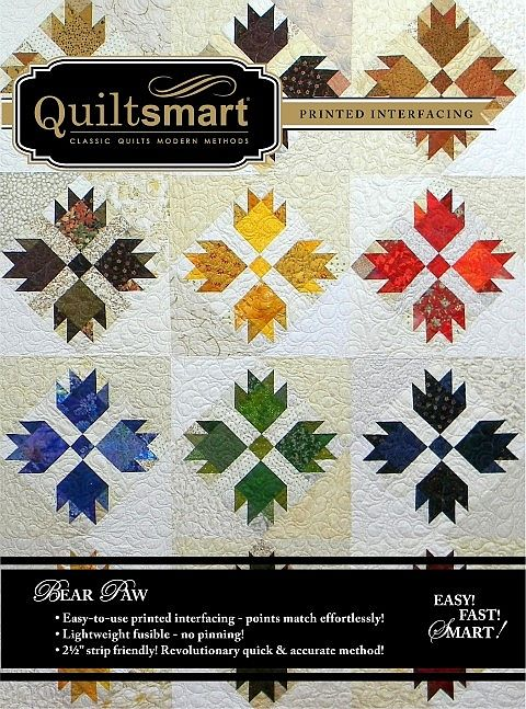 """Using Quiltsmart's BearLeaf interfacing, you will glide through making Bear Paw blocks! Just place and fuse 2.5"""" squares on the marked sections of interfacing, stitch on the lines, and press open. When you sew the seams on the solid lines printed on the interfacing, you will get beautiful points, without ever fussing with triangles! It's all squares! Easy, fast, and smart! #bearpaw #sewing #quilting #quilt #quilted #diy #handmade #craft #ideas #howto #quiltsmart #pattern"""