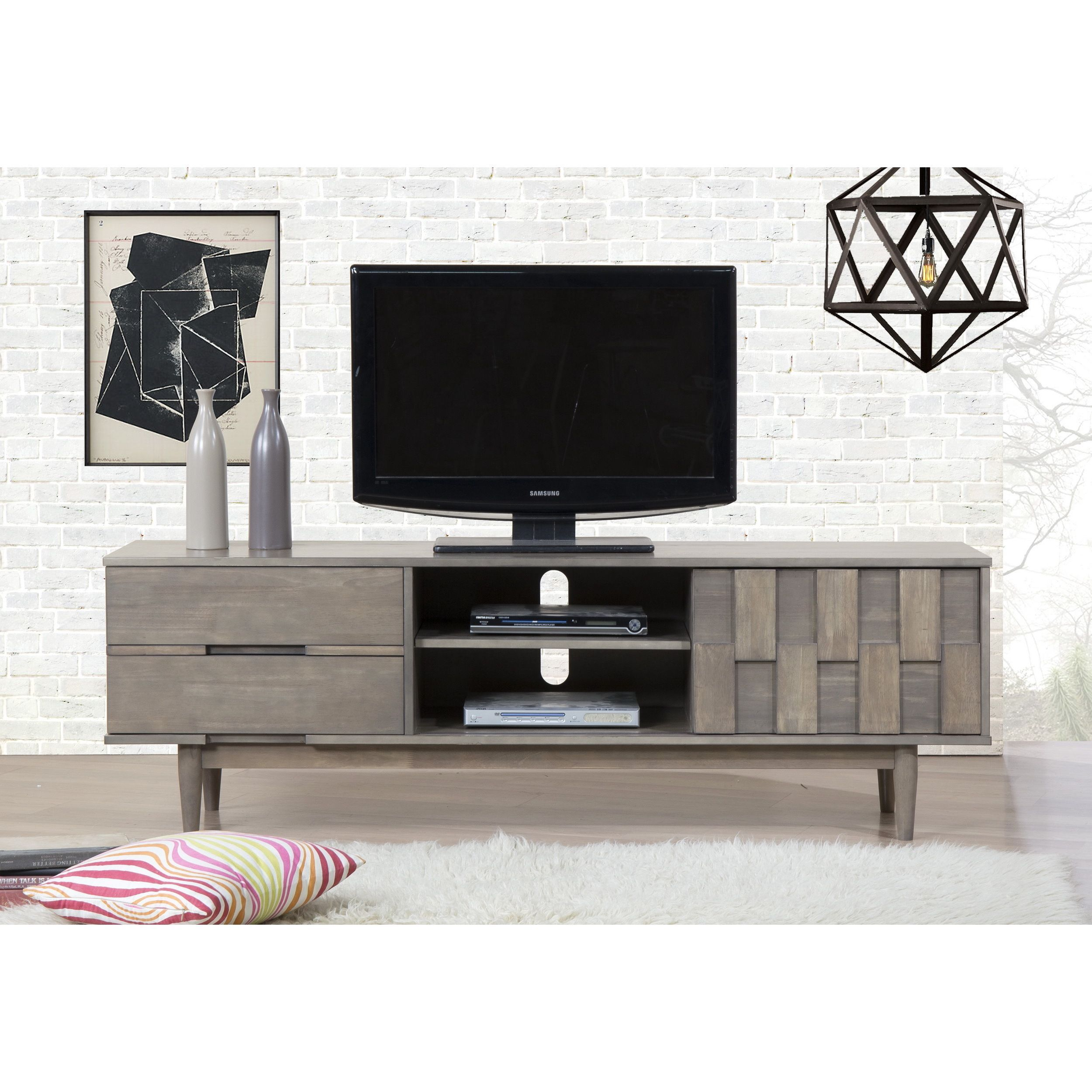 Crafted From Durable Wood And Finished In A Light Charcoal Grey This Entertainment Console Offers Variety Of