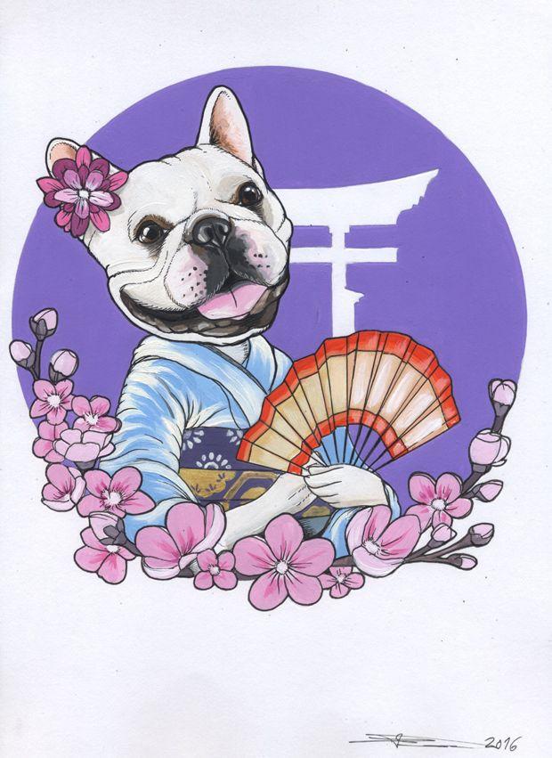 Japan Frenchie Sketch Sketchbook French Bulldog Dog Kawaii