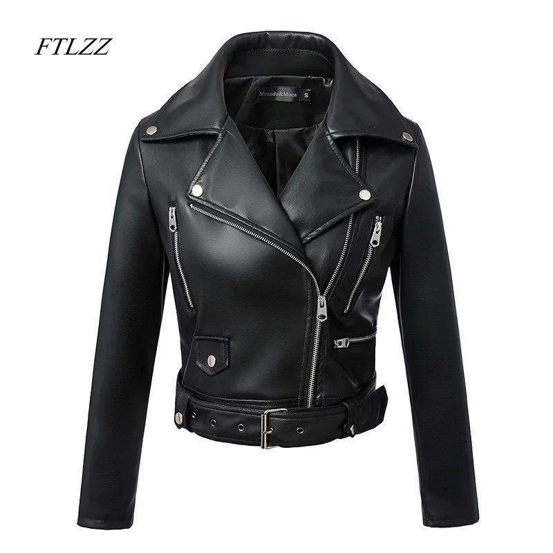 Chaqueta Moto negra de cuero con cremallera estilo chaqueta de ciclista corta para mujer