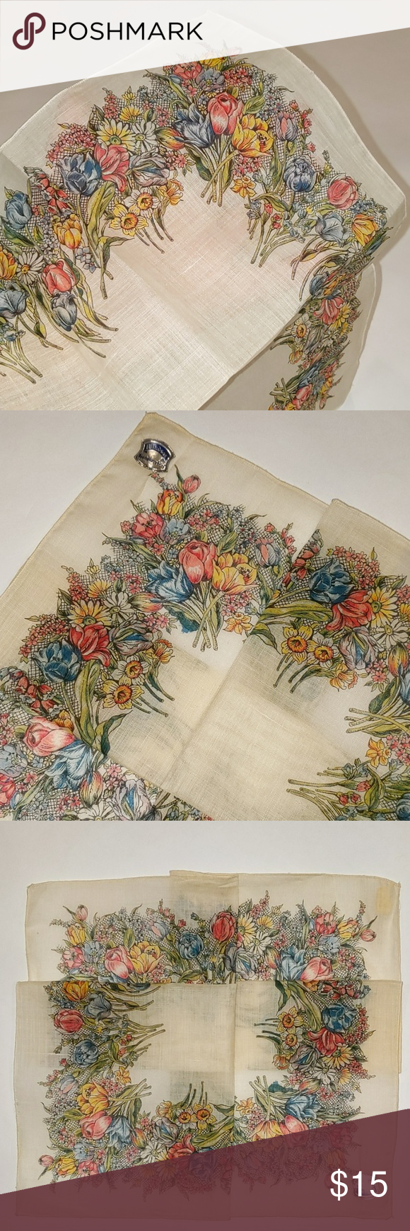 Vintage Riotous Floral Linen NOS Handkerchief Vintage