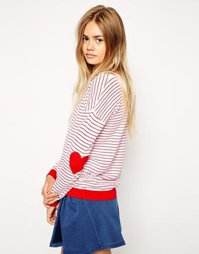 Stripe Sweater With Heart Elbow Patch