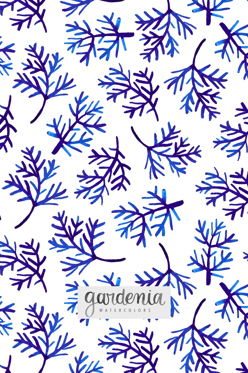 Watercolor Frost Winter Pattern Cold Holidays Blue And White