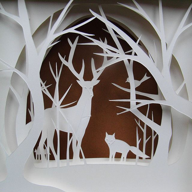 deer and fox in the white forest part ii 3d paper art