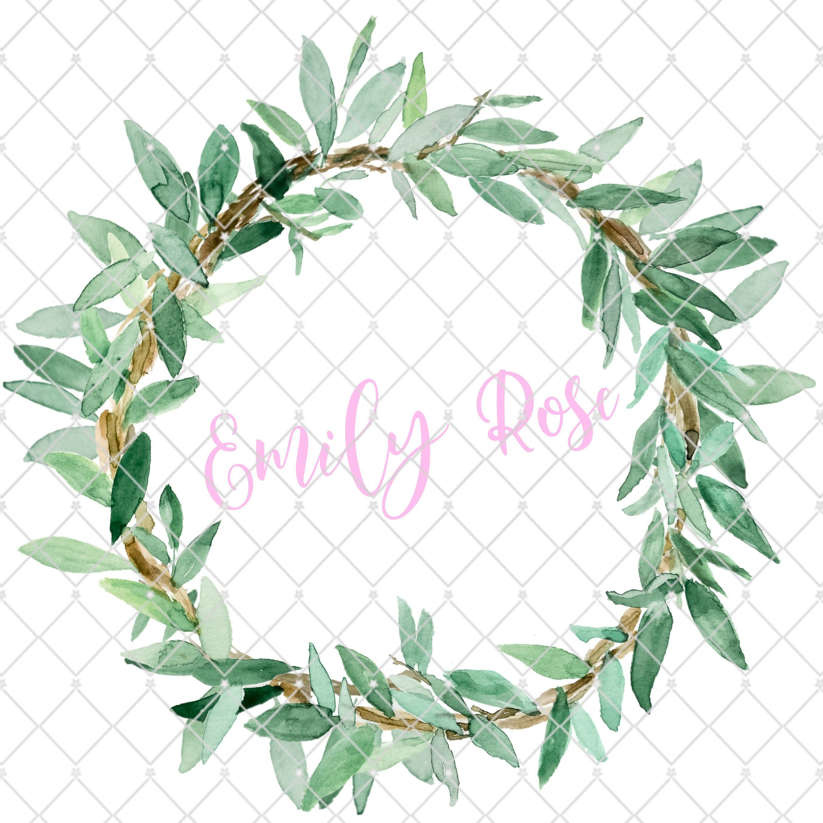 Personalized Name Art Farmhouse Wreath Print Custom Name Print Kids Room Decor Nursery Decor Olive Wreat Farmhouse Wreath Olive Wreath Olive Branch Wreath