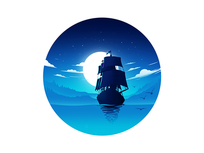 Ship and ocean illustration