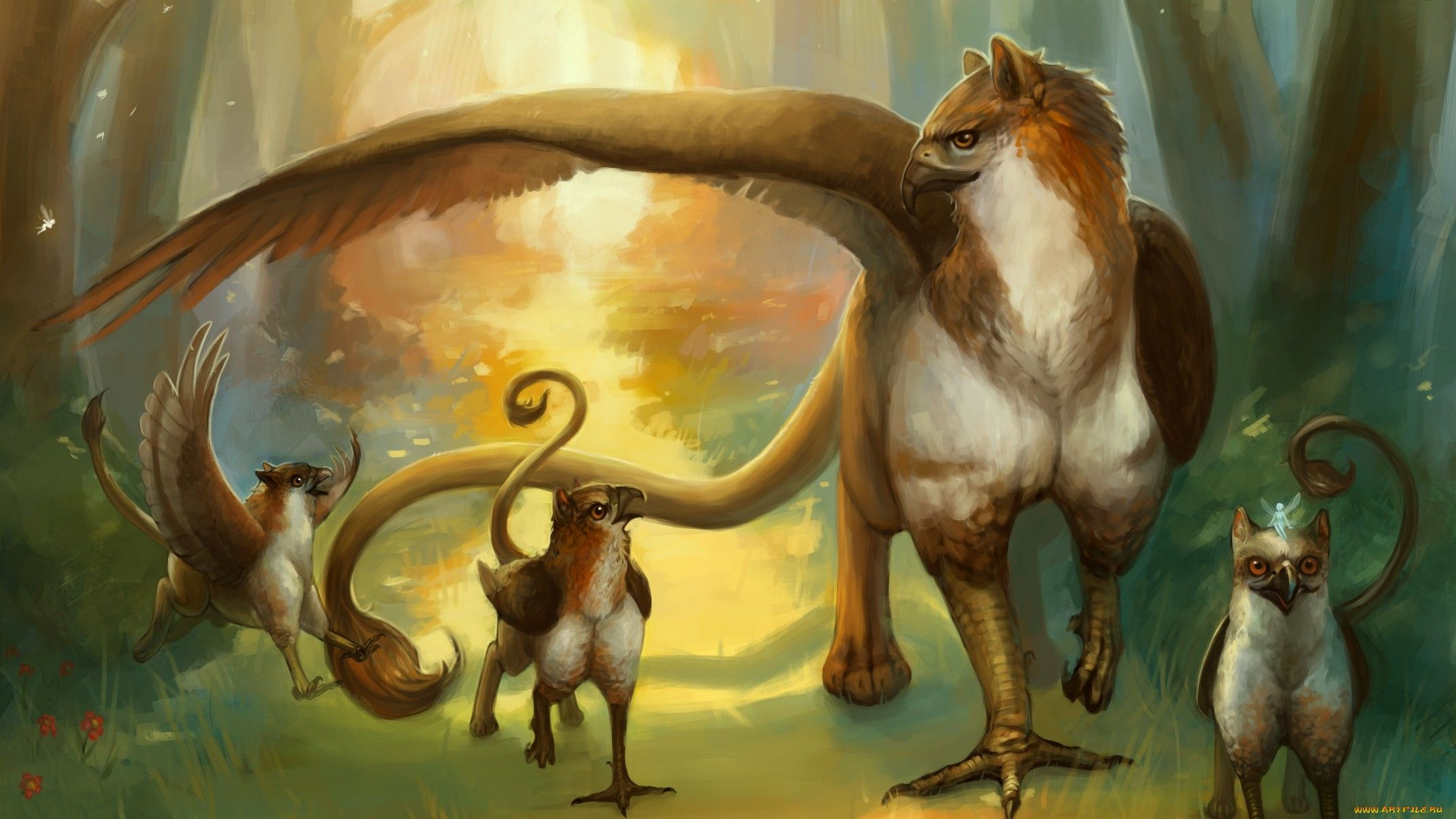 Gryphon Family Mythical Creatures Fantasy Creatures Griffin Mythical