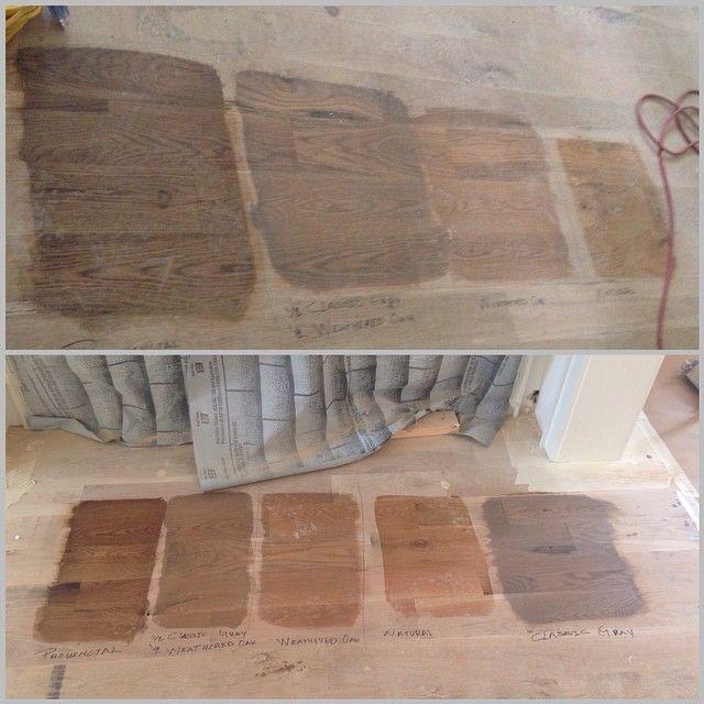 D C S On Instagram Stain Samples At Dcsronniewayne Nofilter Woodstain Hardwoods Davisconstr Weathered Oak Stain Red Oak Hardwood Floors Staining Wood