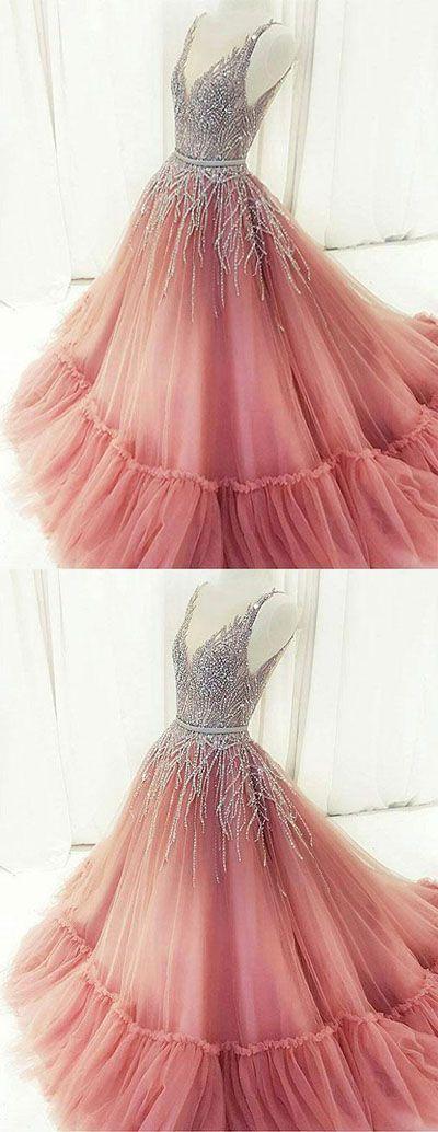 Unique A-Line V-Neck Pink Tulle Long Prom/Evening Dress ...