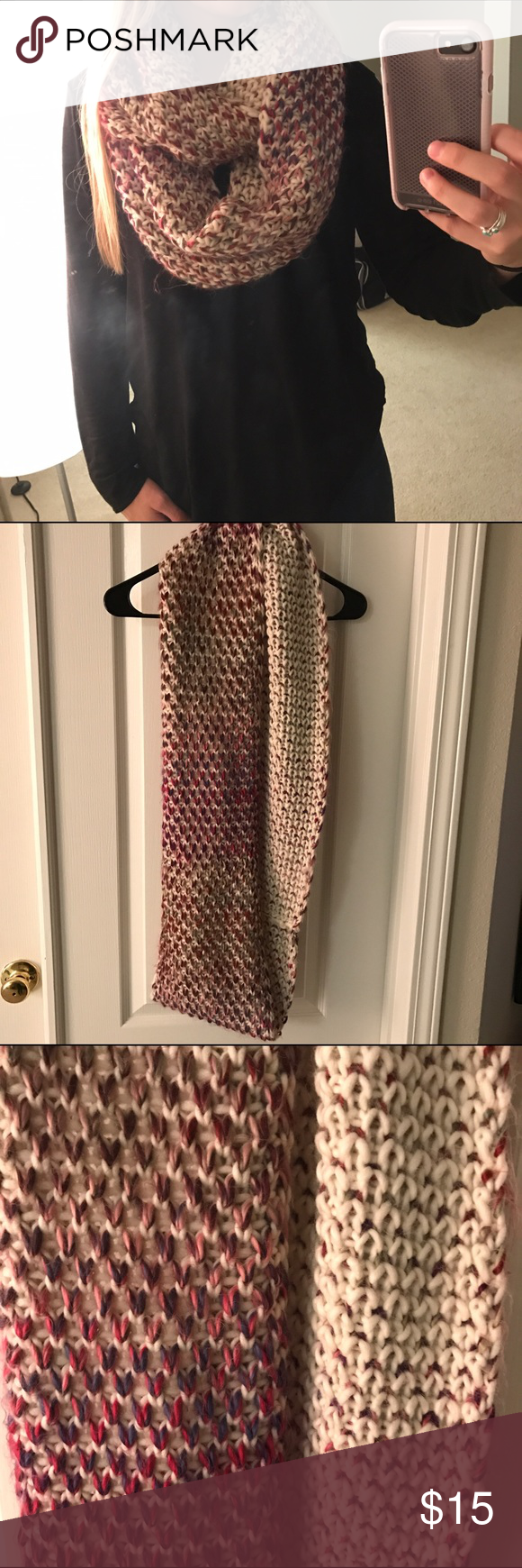 Old Navy Chunky Knit Infinity Scarf This Scarf can be worn for fashion and/or warmth. It's a blend of colors: purple, blue, pink, pale green, and cream. The inside is more cream which is fun to let show too. It is lightly worn. No trades please and thank you. ➡️➡️➡️ I'm open to reasonable offers, so make me one                                               The more you bundle the more you save ❣️ 10% off 2 items  15% off 3   20% off 4+ Just comment and let me know what discount you want so I…