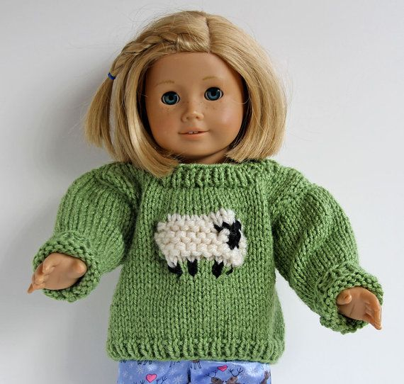 Green Hand Knit Sweater with Fluffy Sheep for by CarolaBartz ...