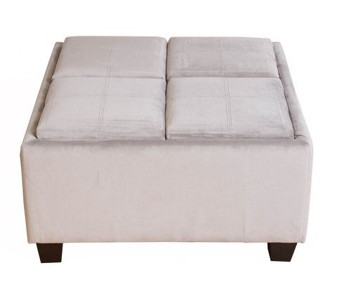 Bombay™ Wilton Grey Microfiber Tray-Top Storage Ottoman - Bombay™ Wilton Grey Microfiber Tray-Top Storage Ottoman Ottomans