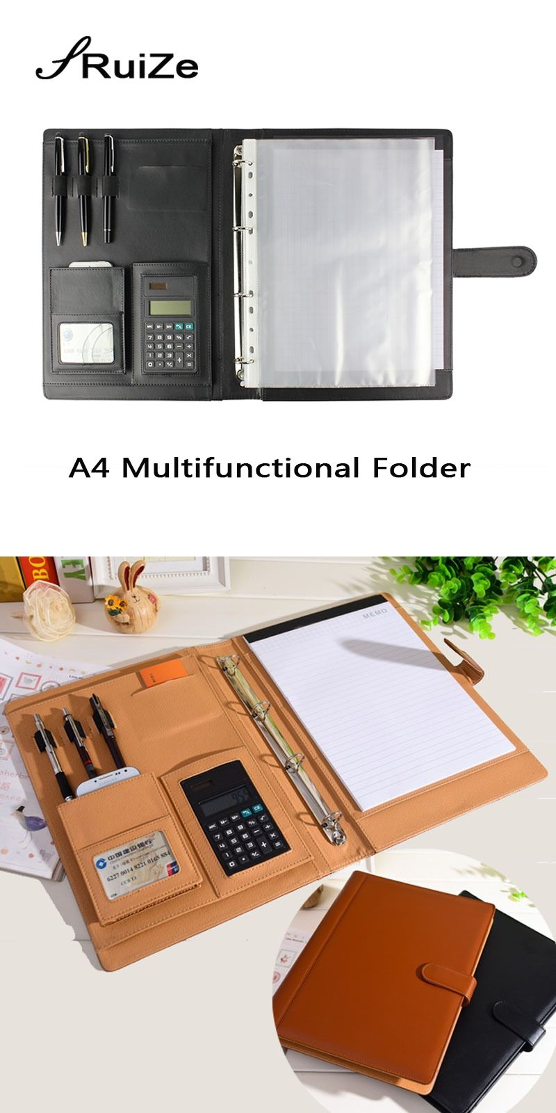 Ruize Office Supplies Leather Folder Organizer Padfolio Soft Cover 4 Ring Binder A4 File With Calculator And Notepad
