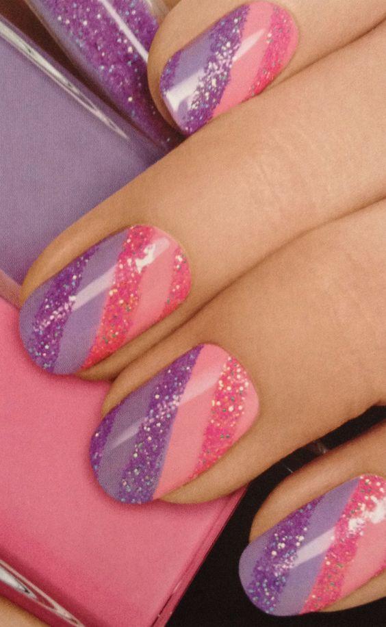 Pink And Purple Glitter Nail Art Nails Pinterest Purple