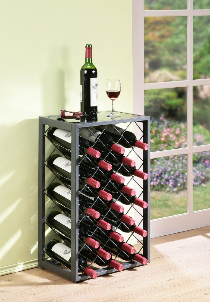 23 Bottle Wine Rack with Glass Table Top, Pewter: Amazon.co.uk ...