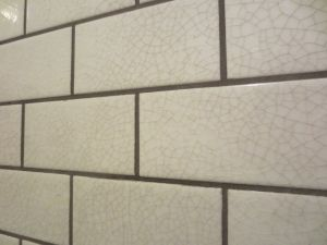Close Up Of My Favorite The Crackled Glaze Tile With Gray Grout Kitchen Redecorating Glazed Tiles Kitchen Tiles