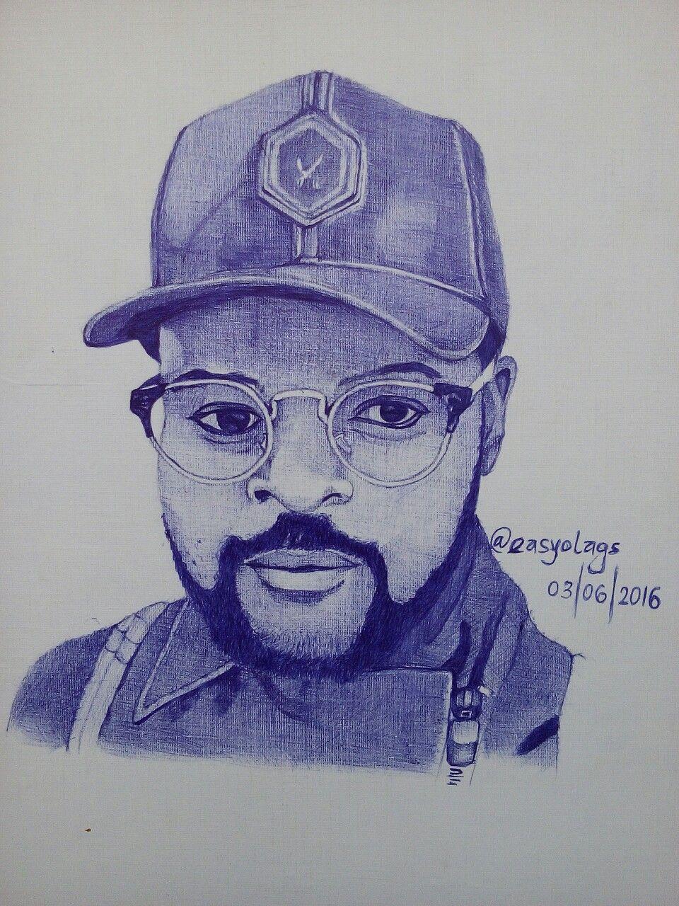 Ballpen portrait of nigerian musician falz the bahd guy by