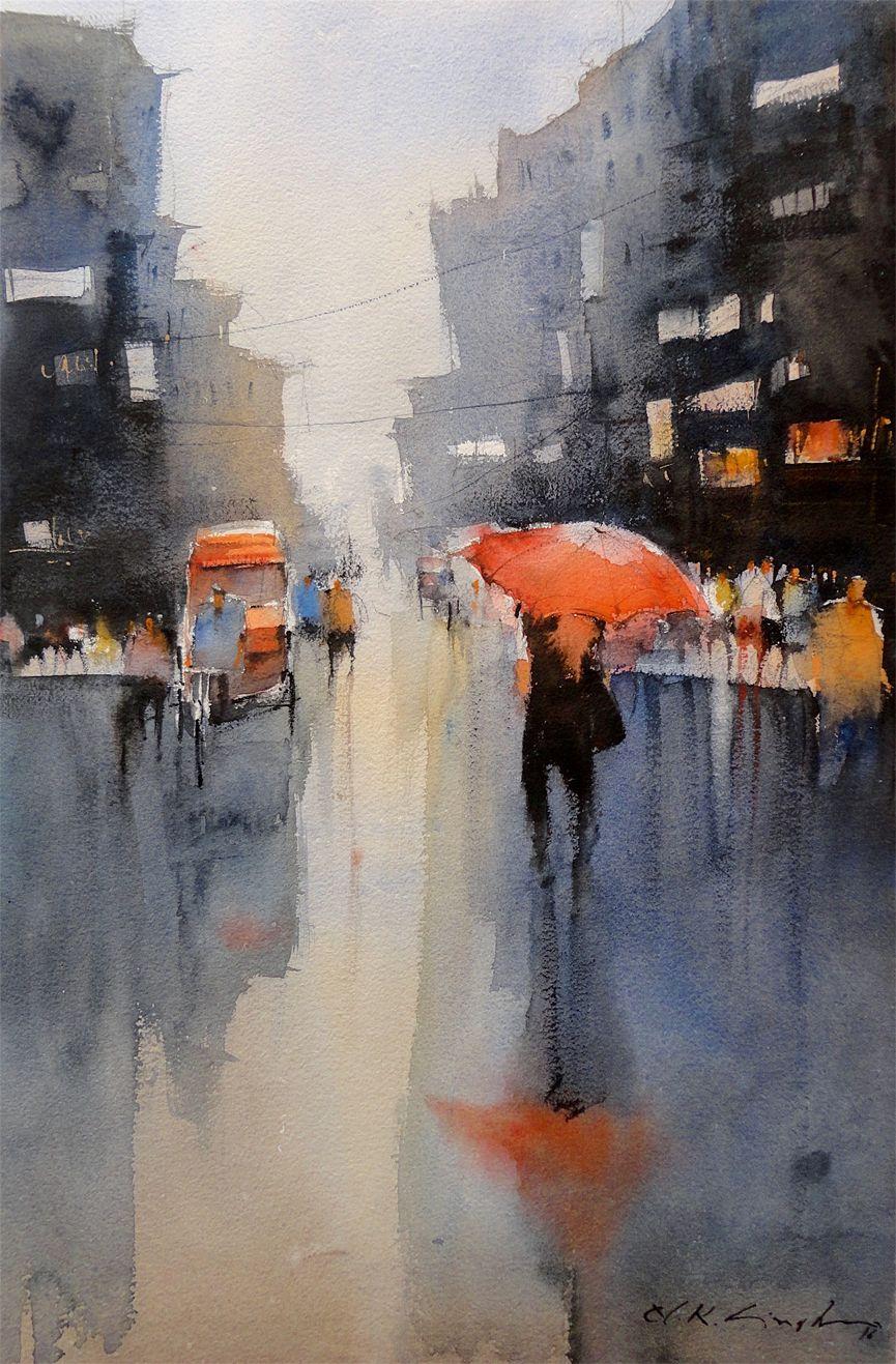 Rain Reflections Watercolor Paintings