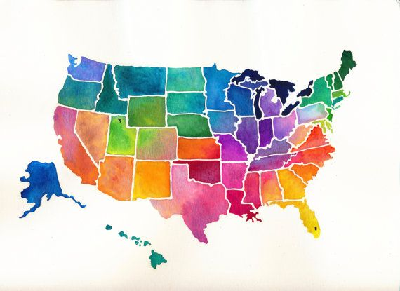 united states map painting United States Bright Watercolor Print Usa Map Art United