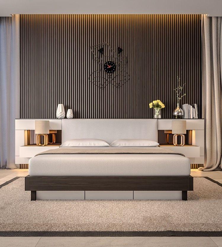 zusätzliche ablagefläche am kopfteil des bettes | schlafzimmer ... - Ideen Moderne Schlafzimmergestaltung Lamellenwand